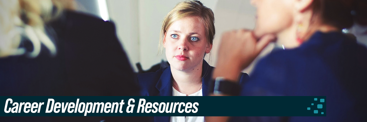 Career Development & Resources header showing woman in business attire in meeting opposite two other women